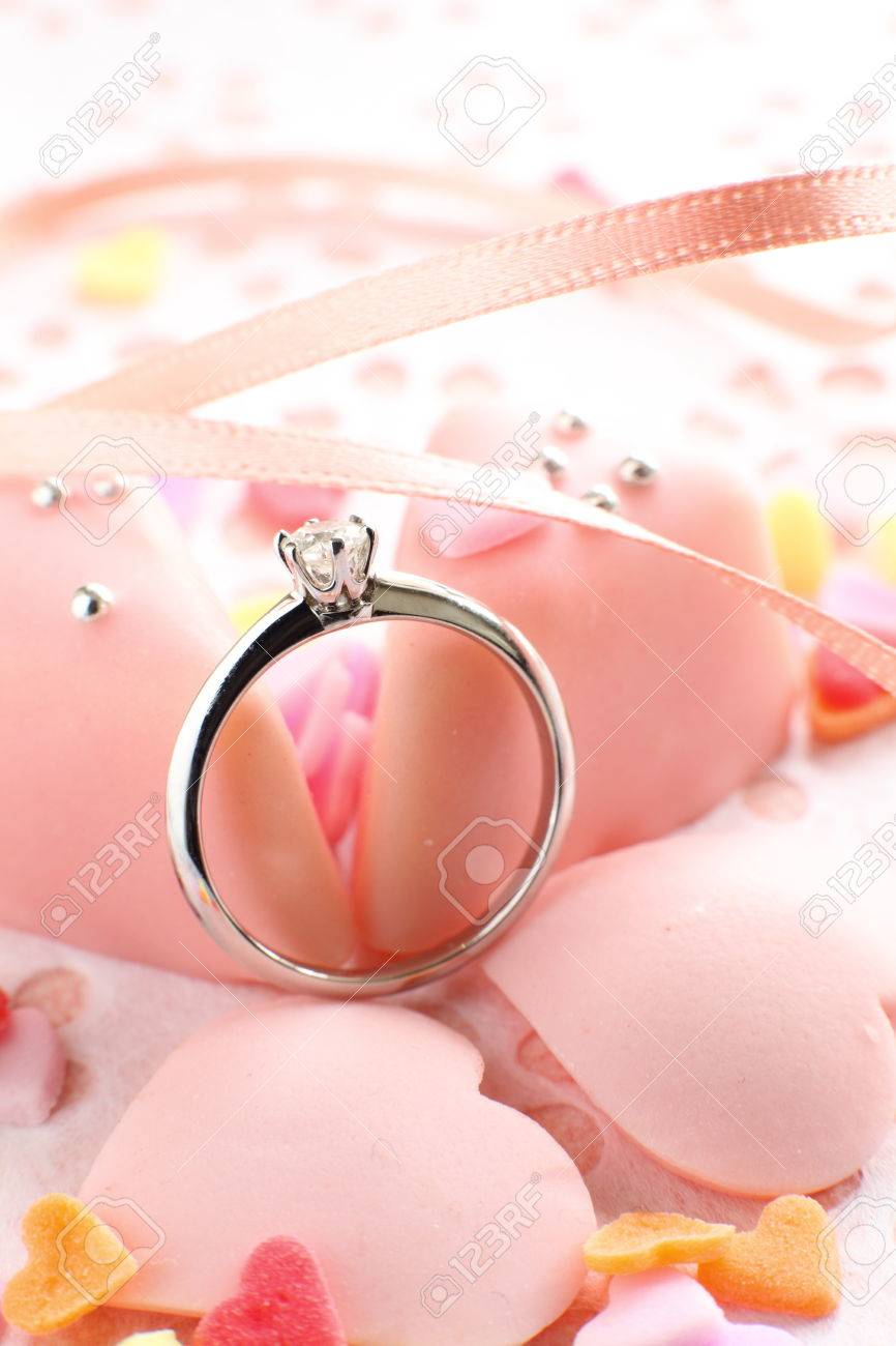 Pink Chocolate With Platinum Diamond Ring Stock Photo, Picture And ...