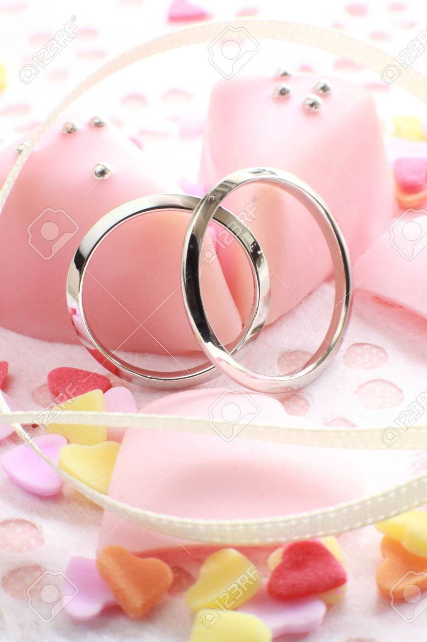 Pink Chocolate With Platinum Wedding Ring Stock Photo, Picture And ...