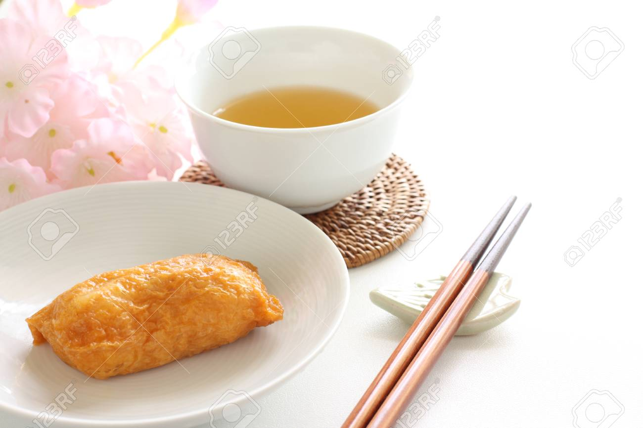 Japanese Food Inari Sushi And Tea Stock Photo Picture And Royalty