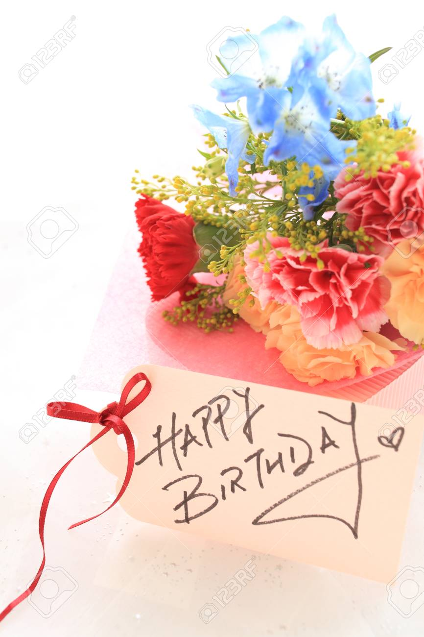 Hand Written Birthday Card And Flower Bouquet Stock Photo Picture