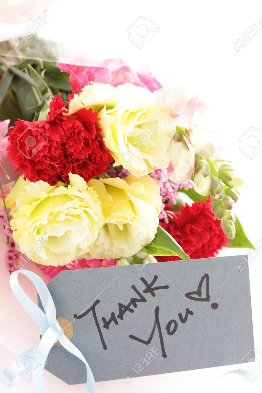 Thank You Card And Carnation Flower Bouquet Stock Photo, Picture And ...