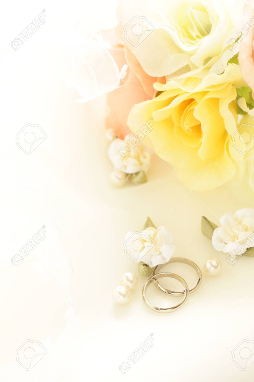 Pair ring and ribbon for wedding image - 130343181