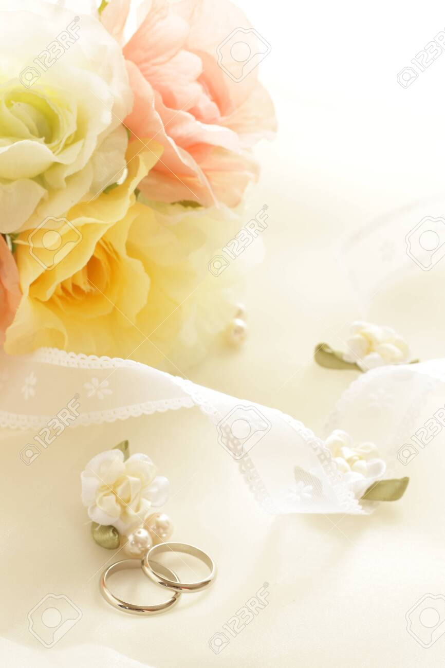 Pair ring and ribbon for wedding image - 130343182