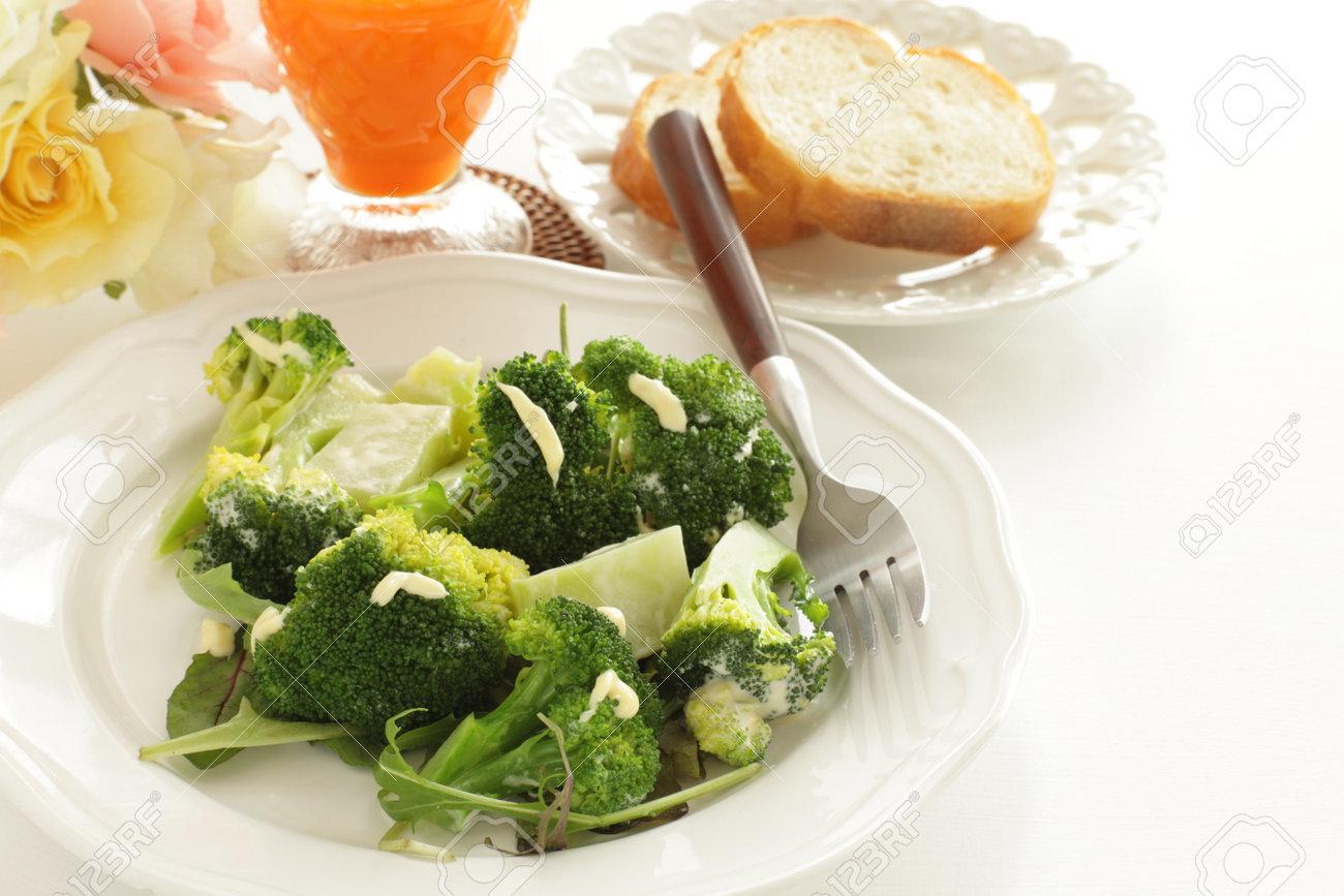 boiled broccoli and mayonnaise salad - 169245903