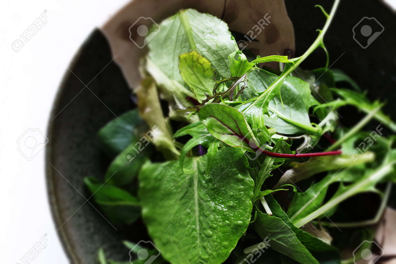Baby spinach salad in bowl with copy space - 169819947