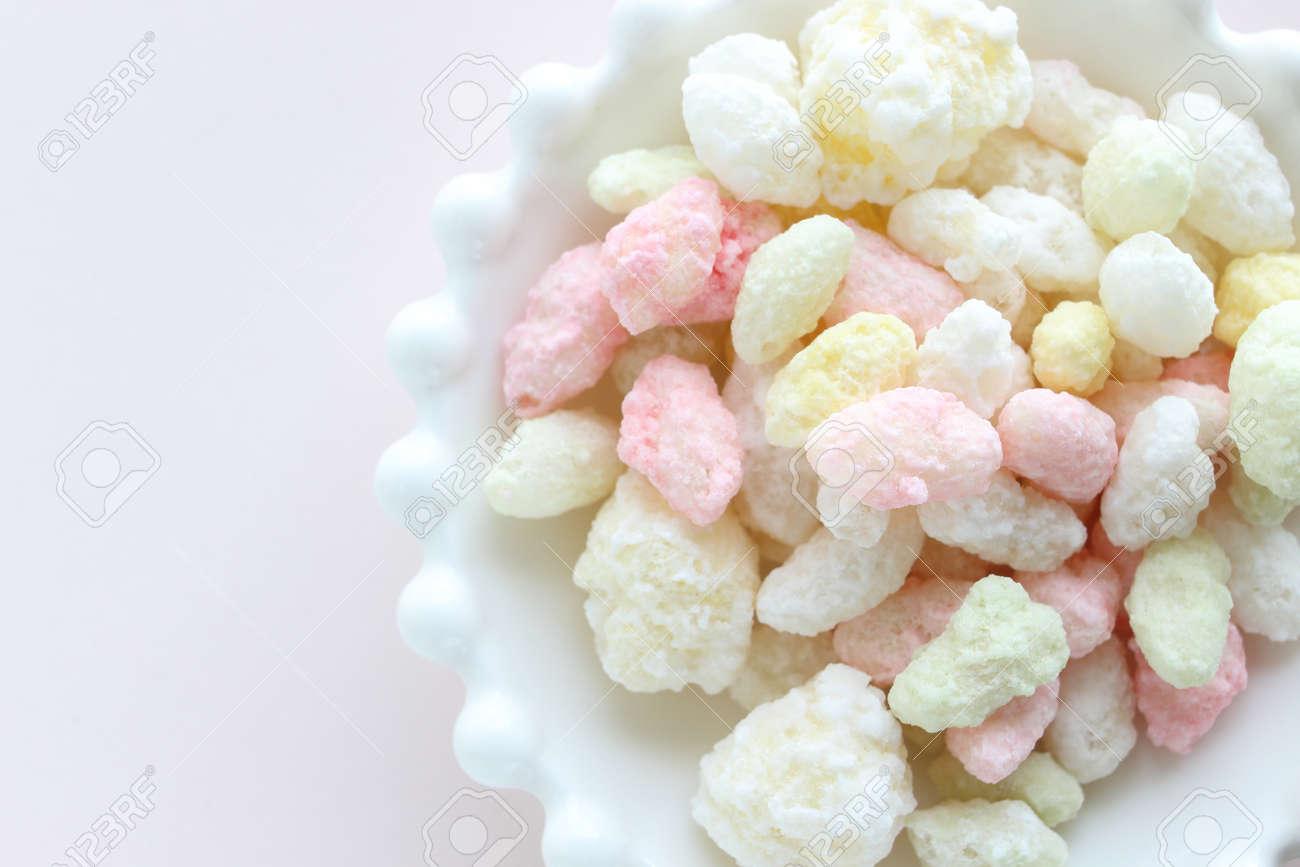 Japanese confectionery, pastel color rice cracker for Hinamatsuri holiday food - 168798303