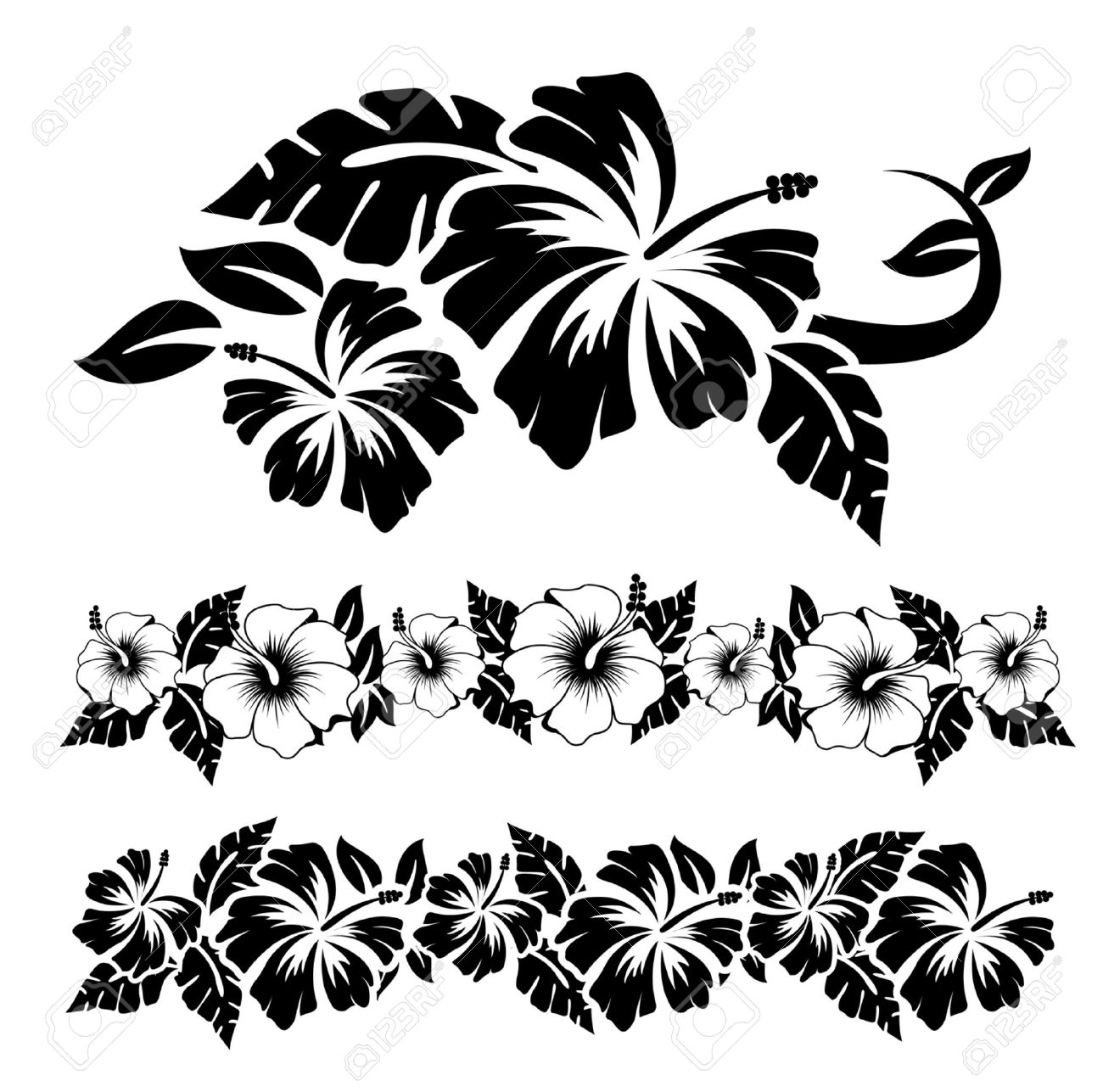 Hawaiian Flower Tattoos Black And White Lektonfo