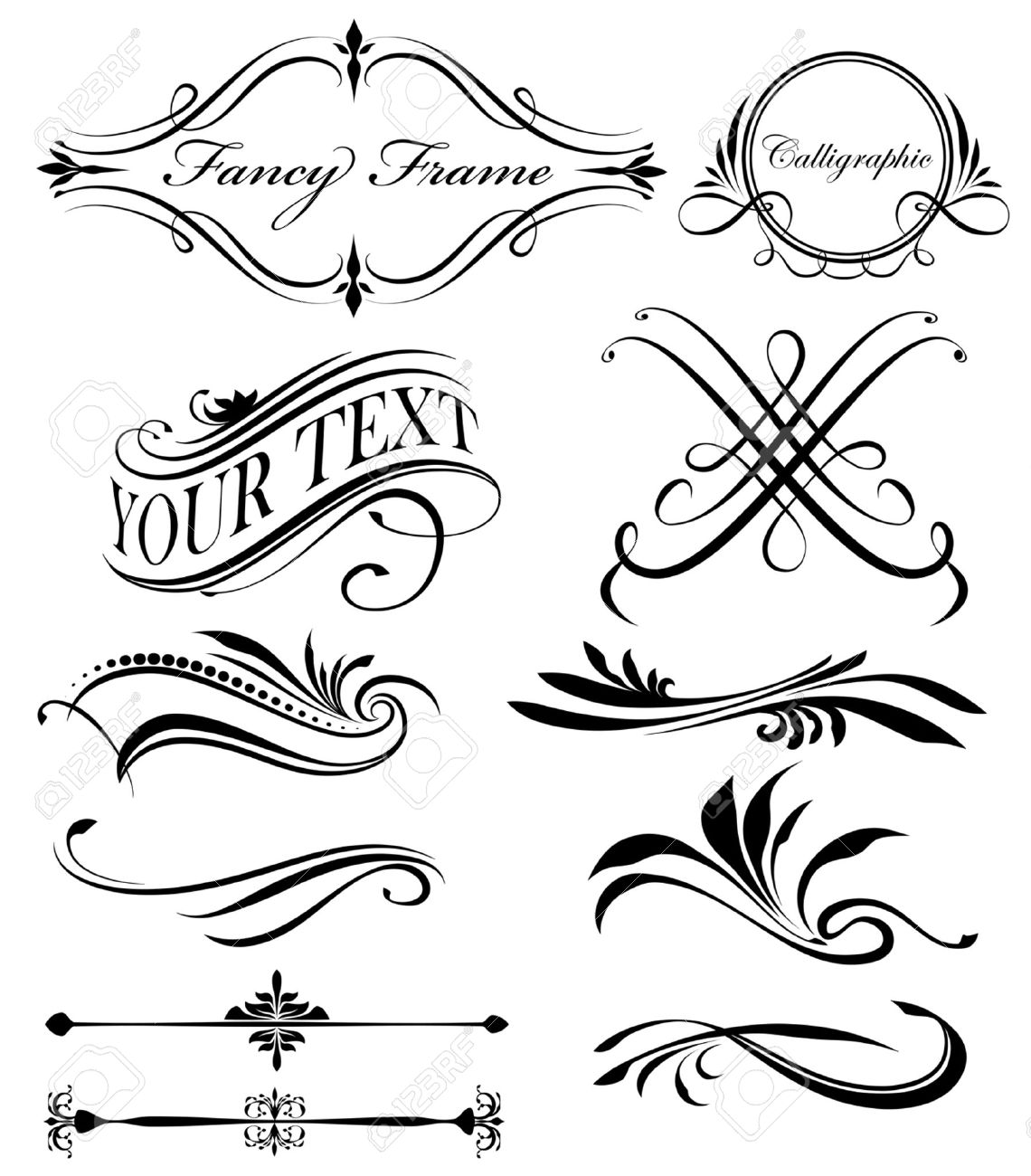 Fancy Swirls Page Spacers Dividers Stock Vector