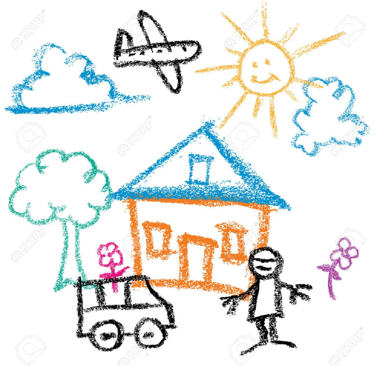 Kids Crayon Drawing Of Sunny Day House And Man And Car Royalty Free Cliparts Vectors And Stock Illustration Image 30146145