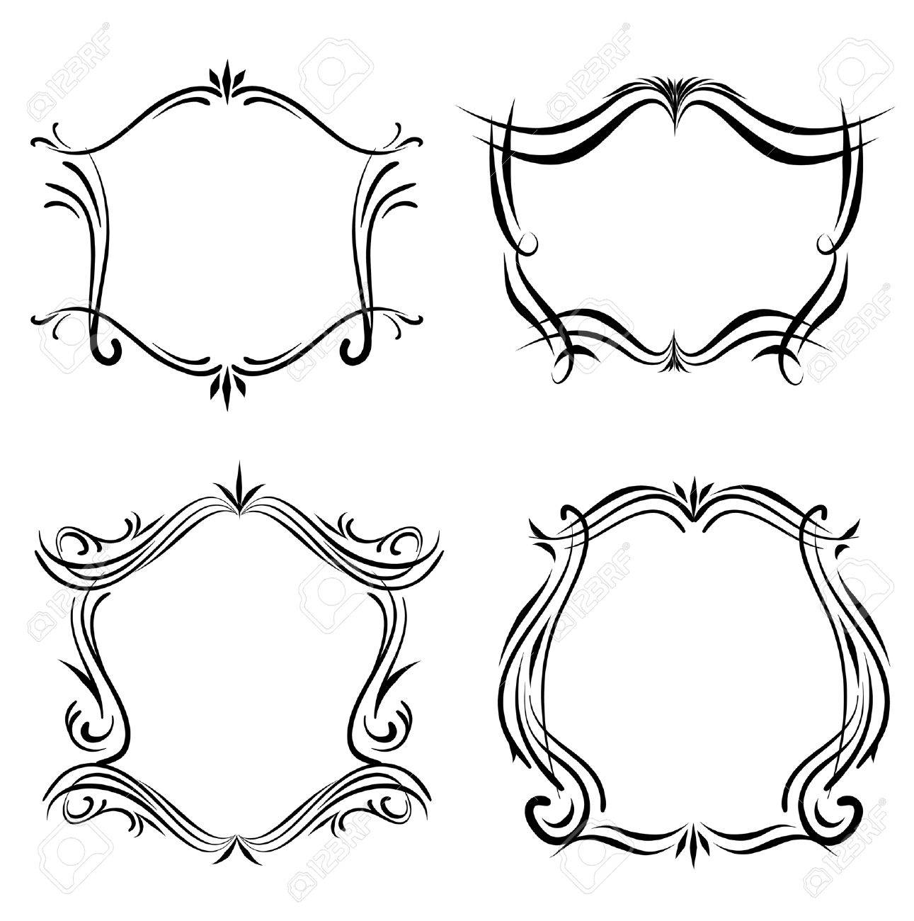 Decorative Line Art Western Victorian Frames Royalty Free Cliparts ...