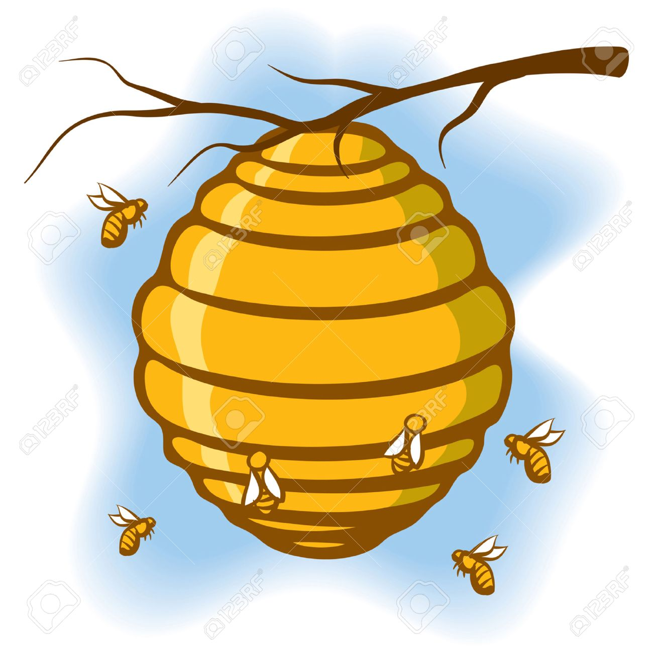 an illustration of a beehive suspended from a tree with bees