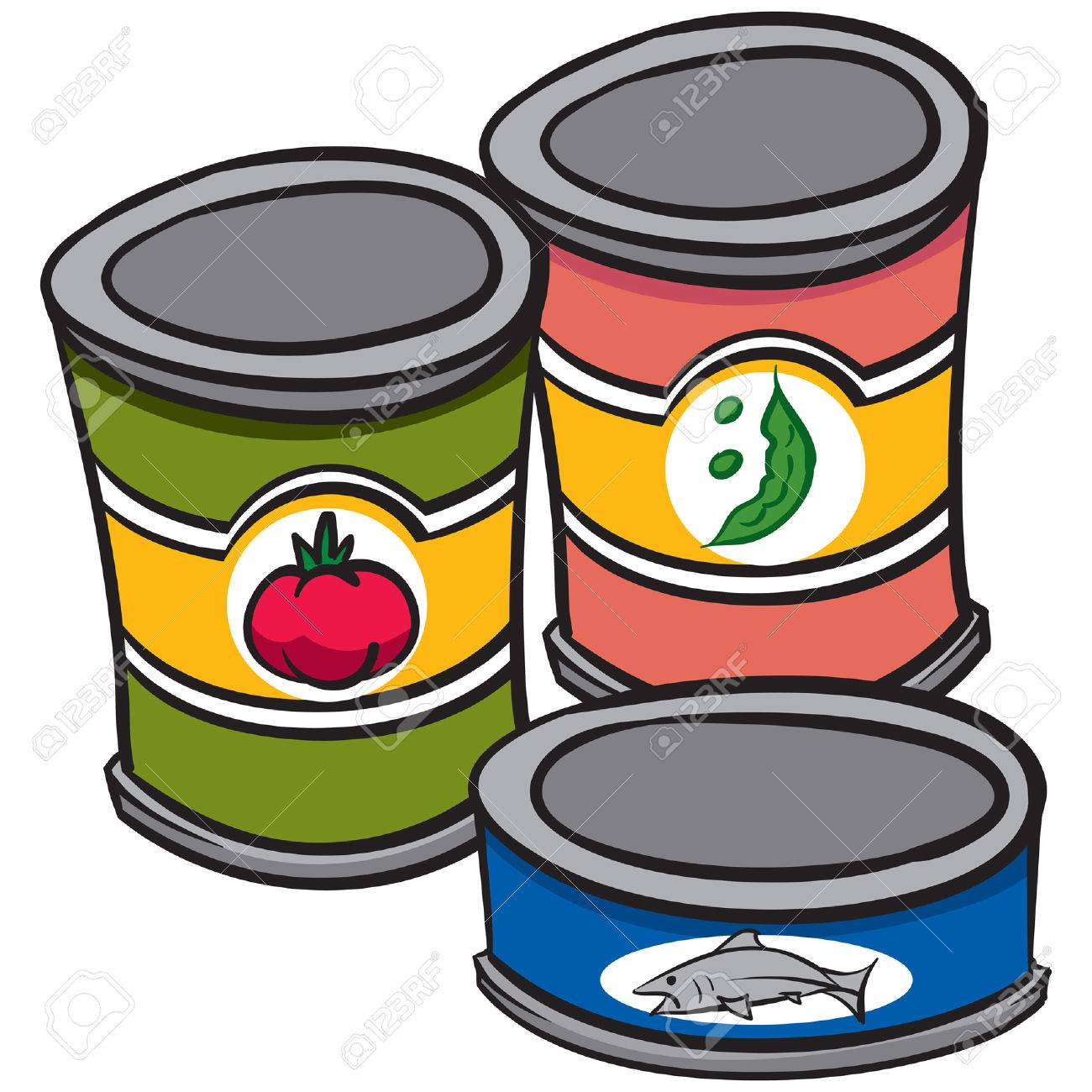 An Illustration Of Three Cans Of Food Royalty Free Cliparts Vectors