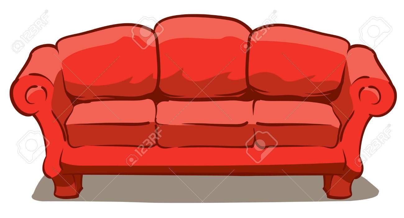 Eine Illustration Von Einem Großen Bequemen Roten Couch Lizenzfrei