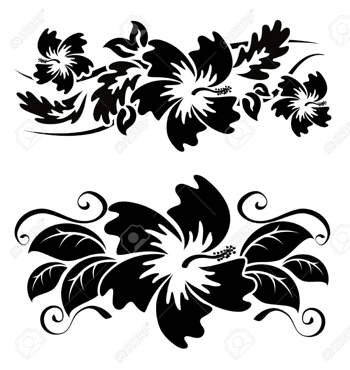 Various Hibiscus Hawaiian Tropical Flowers Black And White Stock Vector