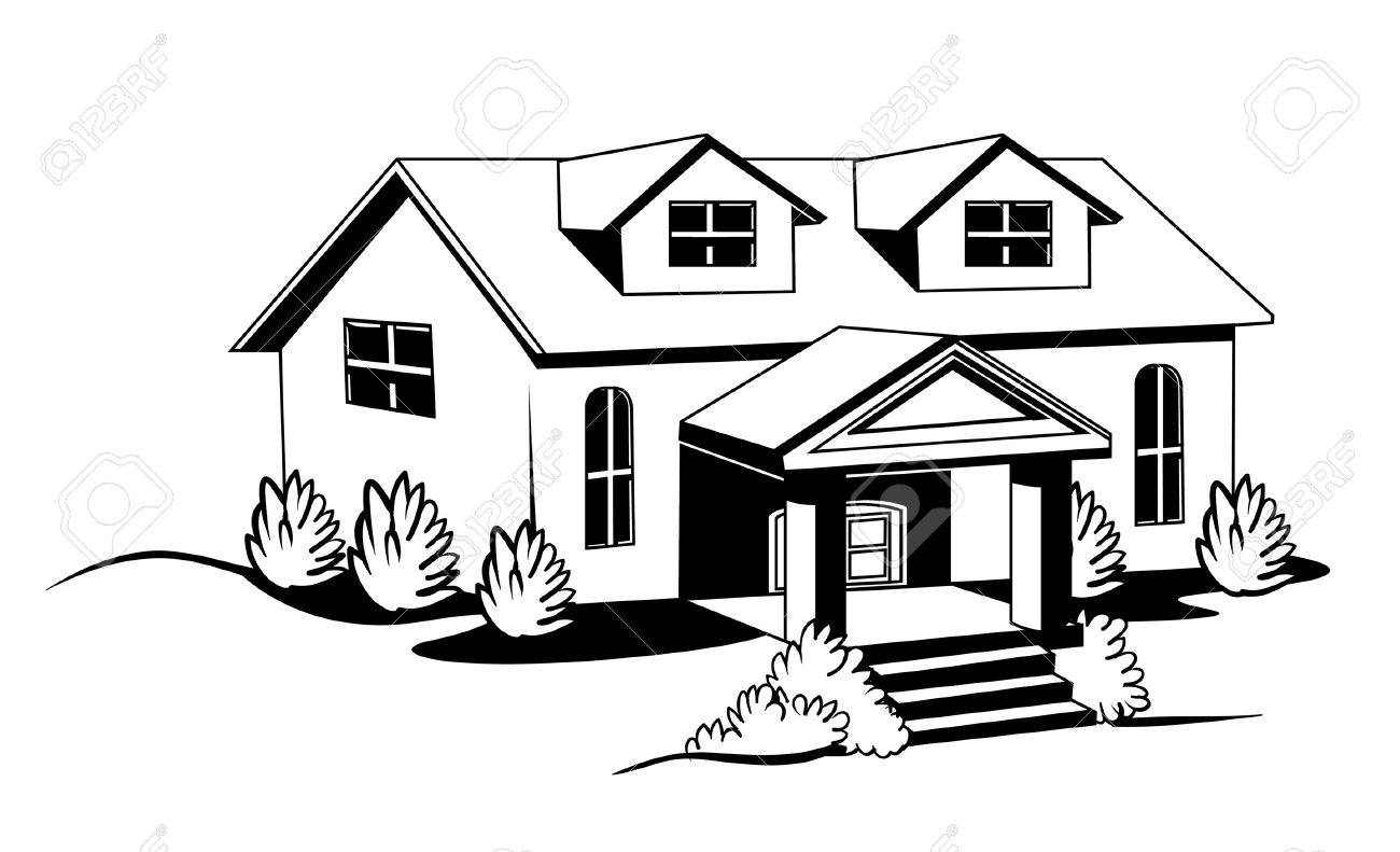 Black and white house with bushes and lawn stock vector 35460053