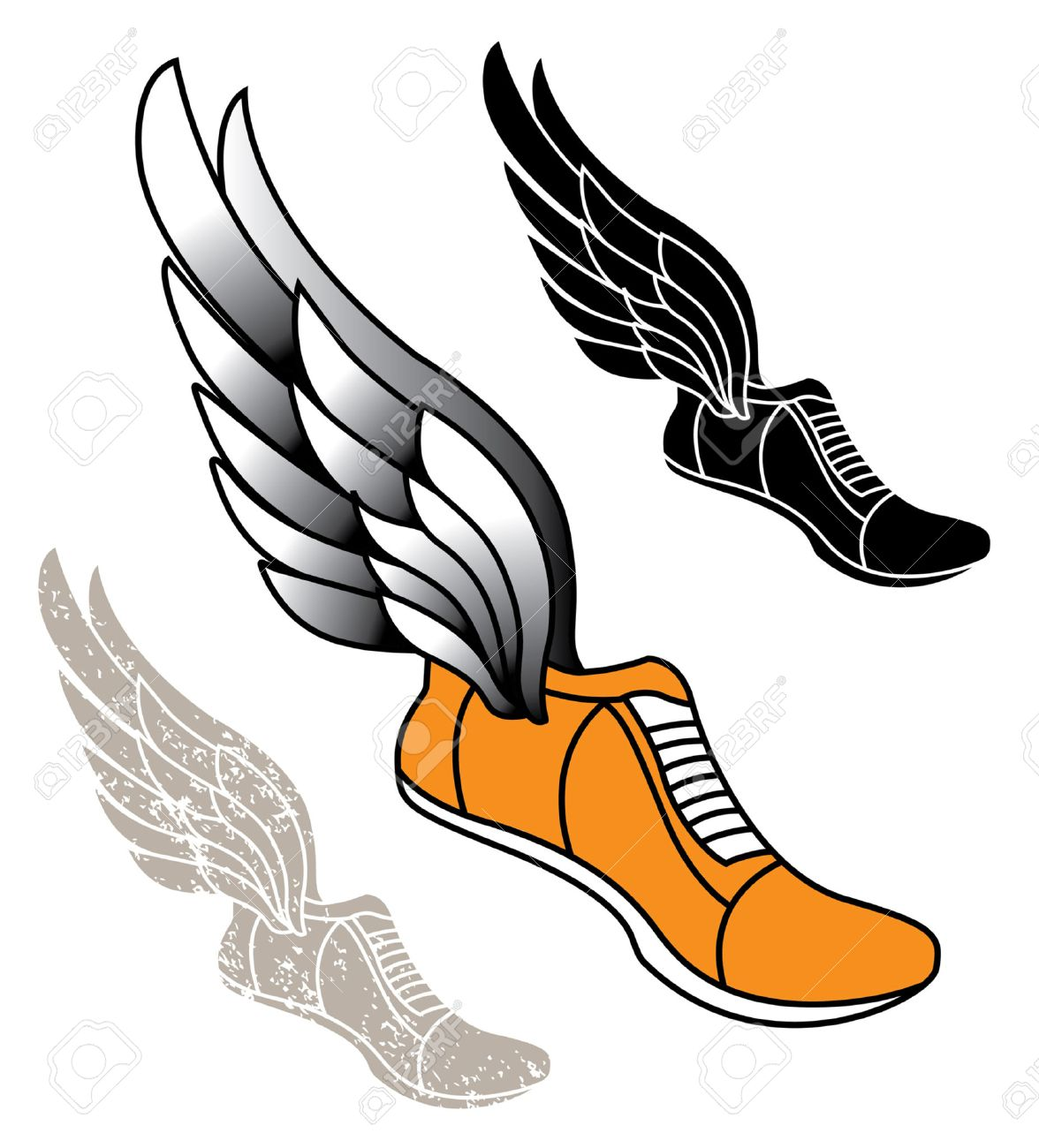 track athletic sports running shoe logo with wings royalty free rh 123rf com shoe with wing logo name yellow shoe with wing logo