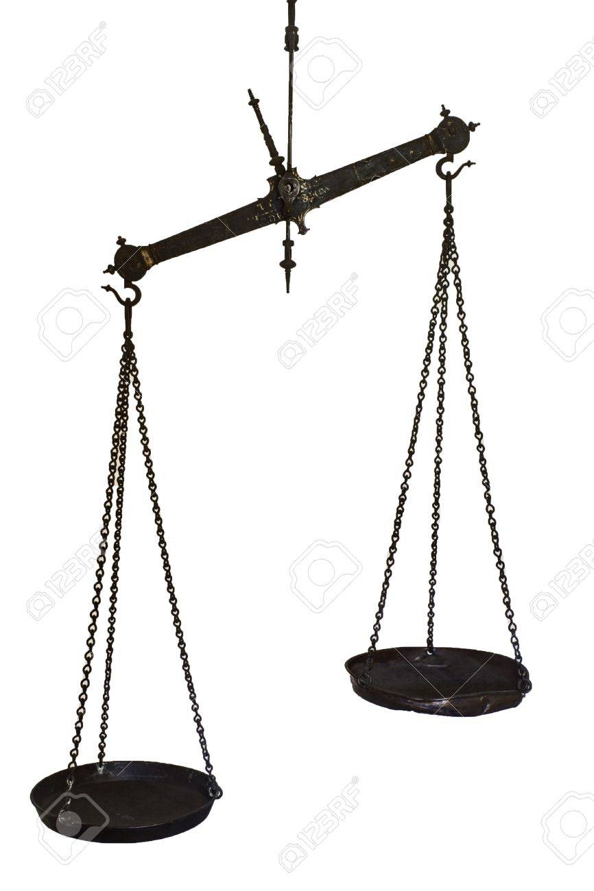 Set of hanging balance scales in black metal with a pointer to show once the pans are in equilibrium and the weights in each are equal Stock Photo - 17337702