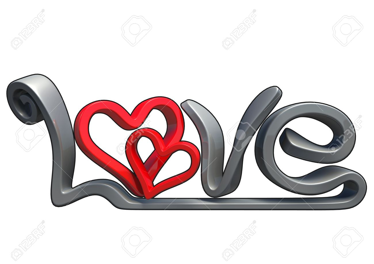 Stock Photo Text That Says The Word Love Made In D Software Isolated On White Background With Black Border