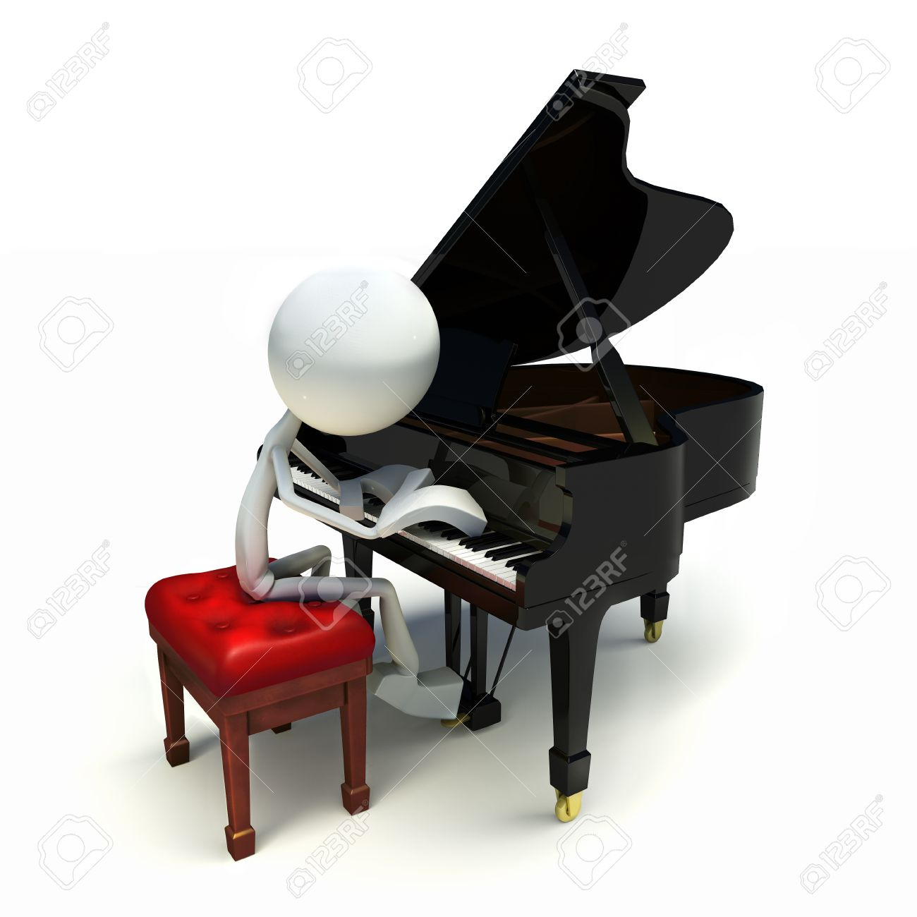 3D character playing the piano, isolated on white background Stock Photo - 11024622