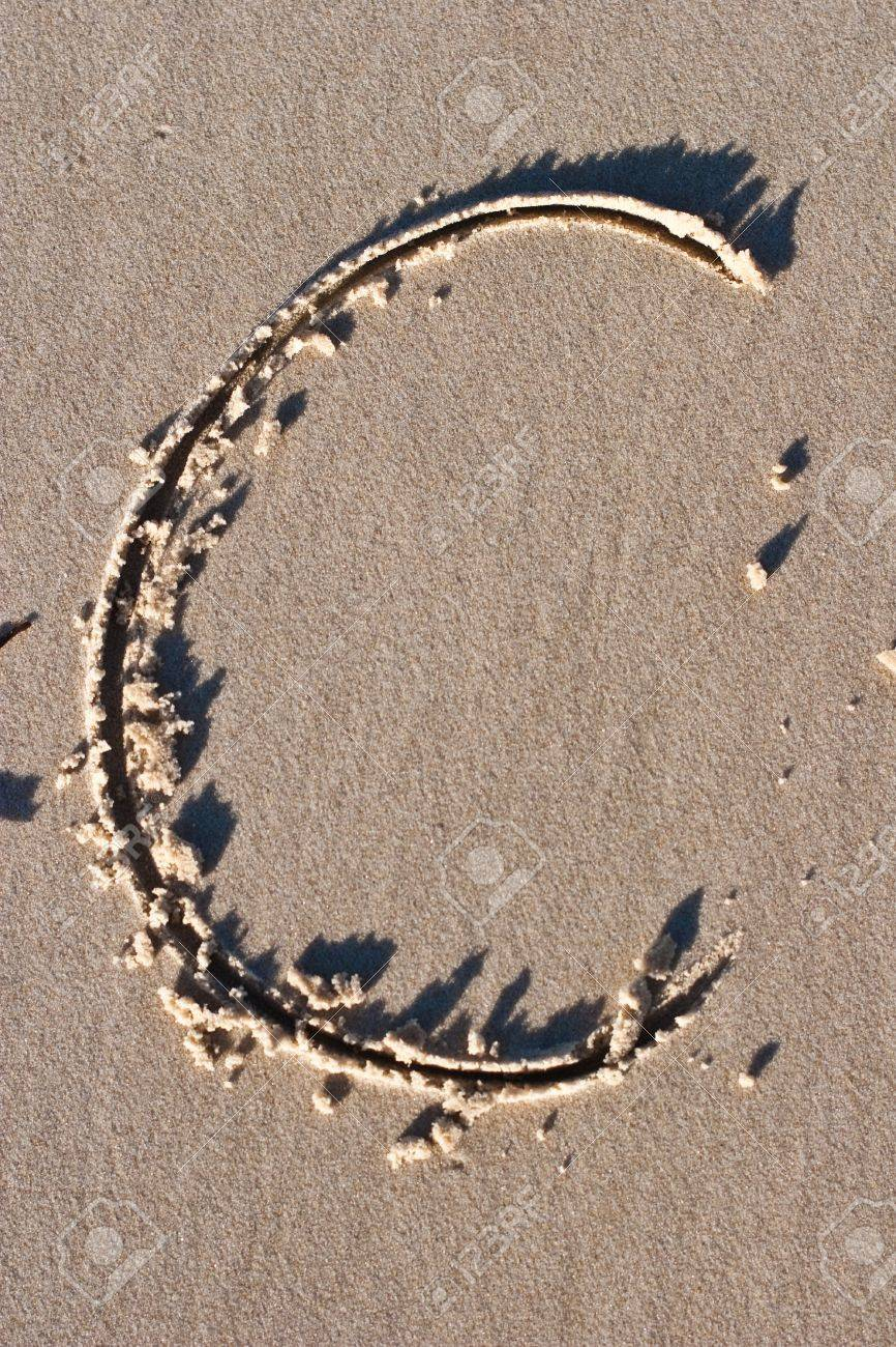 Letter C drawn in the Sand Stock Photo - 8816506