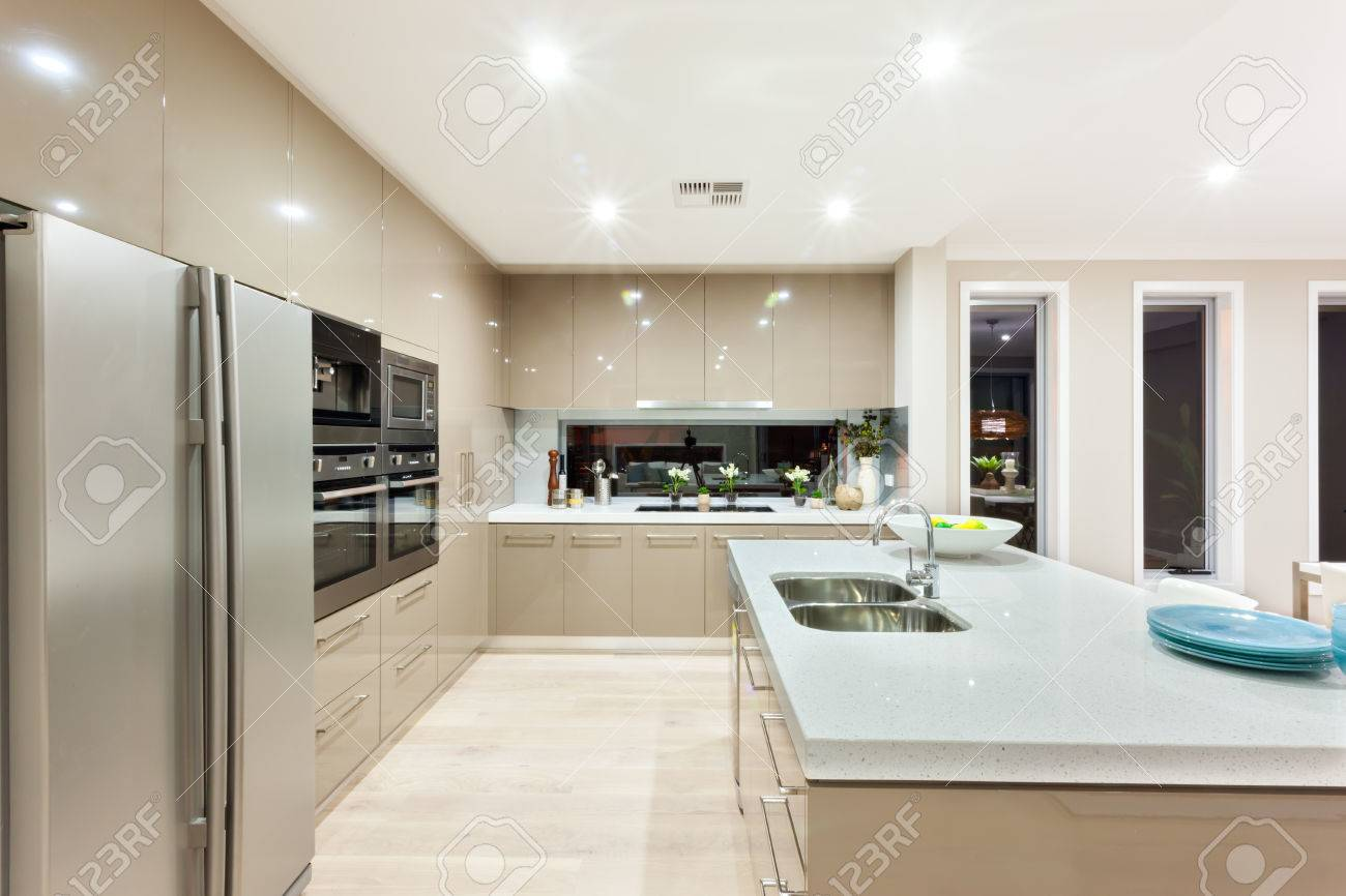 Interior Of The Luxury Kitchen Includes A Fridge And Wall Ovens ...