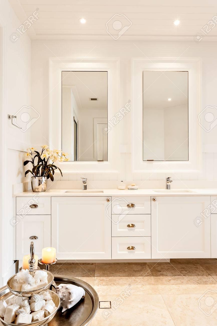Cuarto de baño moderno con dos espejos en una casa de lujo y una planta de  lujo color plata en la encimera cerca de un tazón dulce