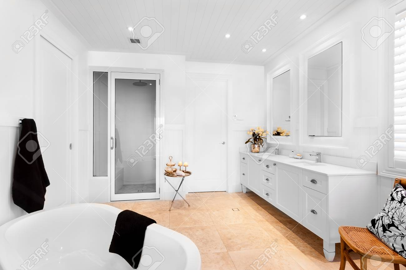 Bathroom Of Luxury House Having Empty Bath Tub With Two Blue.. Stock ...