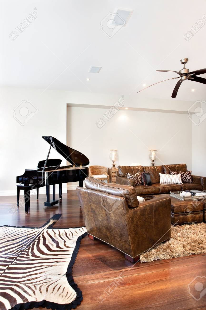 Beautiful sofa table and piano with zebra printed carpet in drawing..