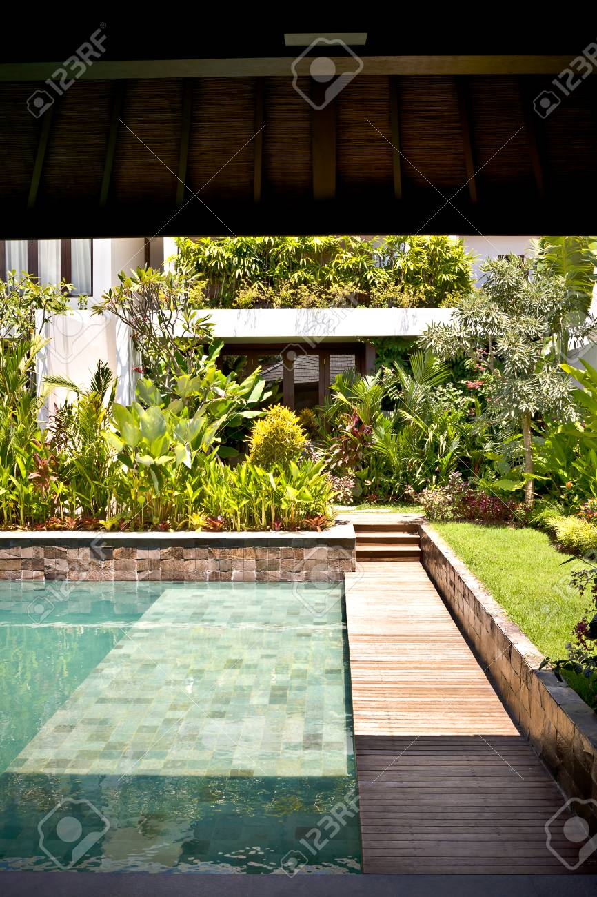 Garden With Swimming Pool modern house garden and the swimming pool with a an old roof