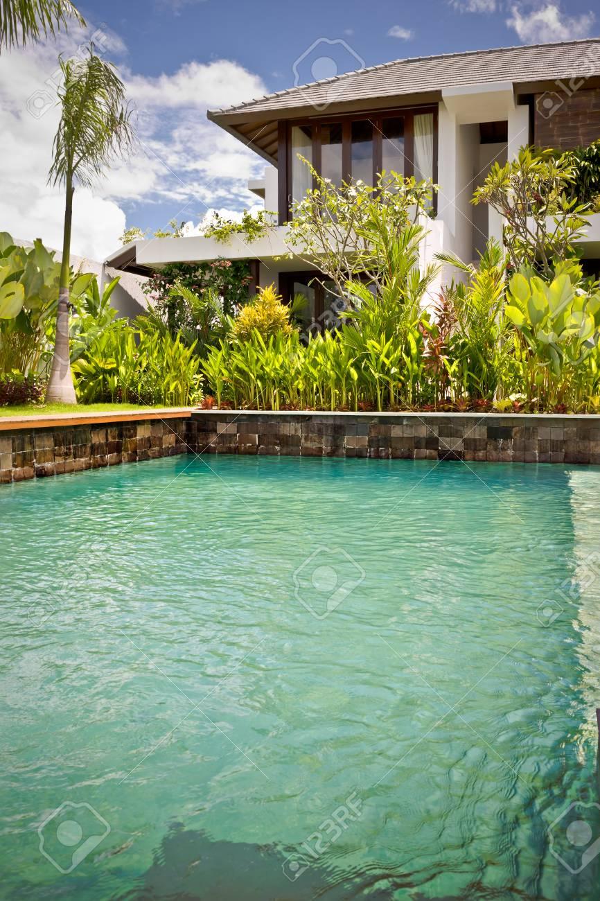 Agrandi de piscine de luxe avec jardin naturel à côté de la maison moderne