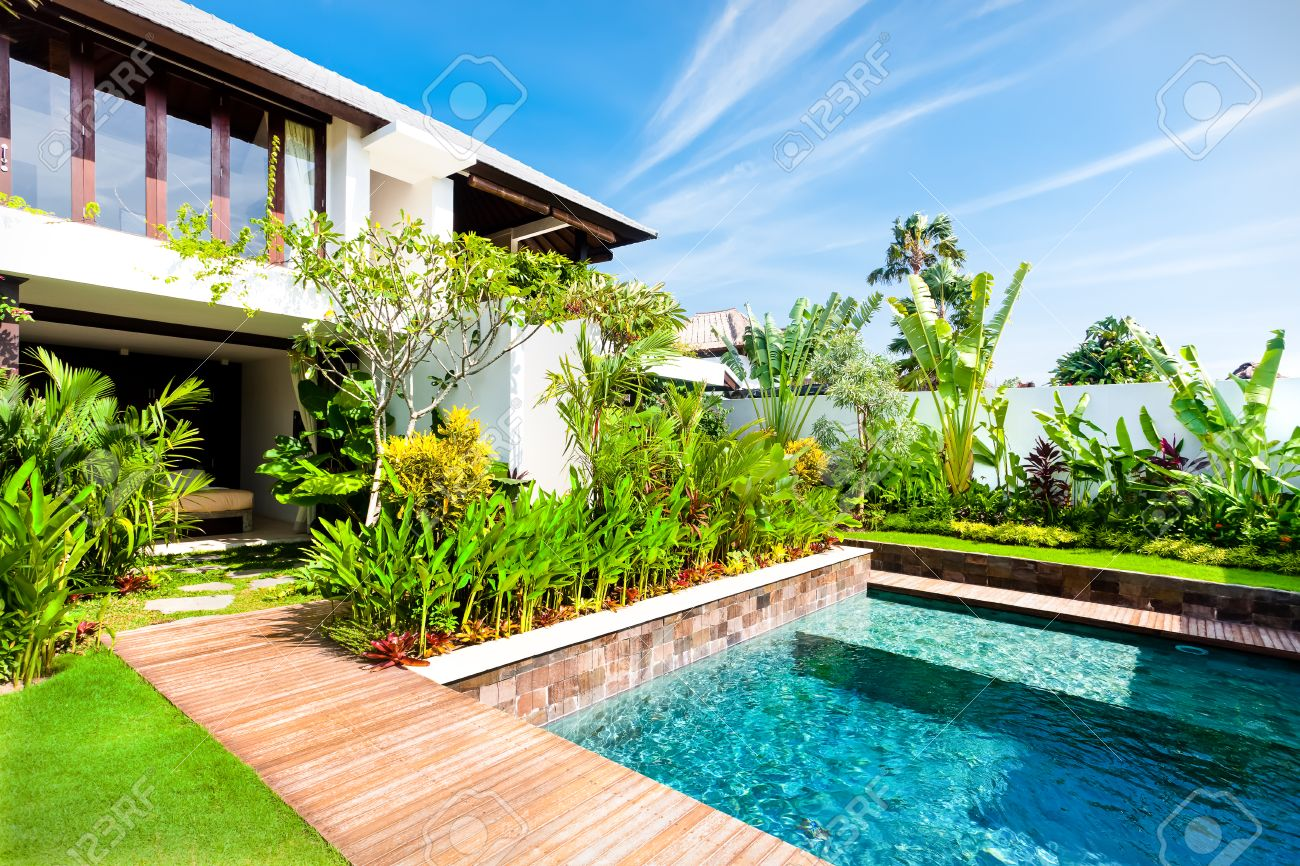 Modern Garden With A Swimming Pool And Green Color Fancy Plants In Luxury  House Stock Photo