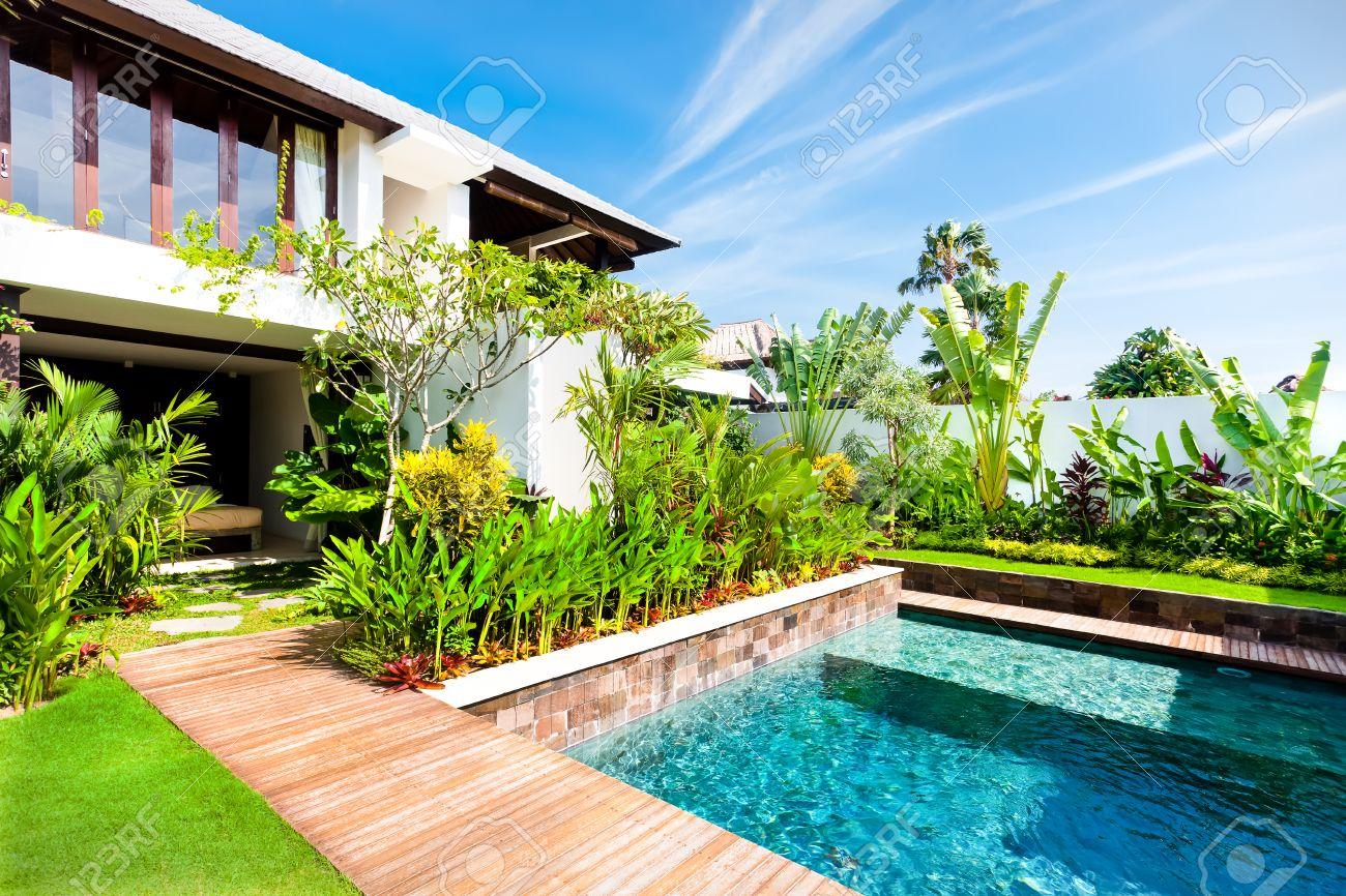 Moderne Garten Mit Einem Swimmingpool Und Grüne Farbe Phantasie Pflanzen In  Luxus Haus Standard