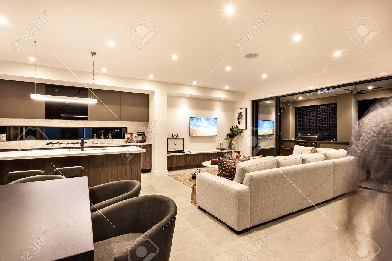 Luxury House Interior With Living Room And The Kitchen With Tables Stock Photo Picture And Royalty Free Image Image 59745650