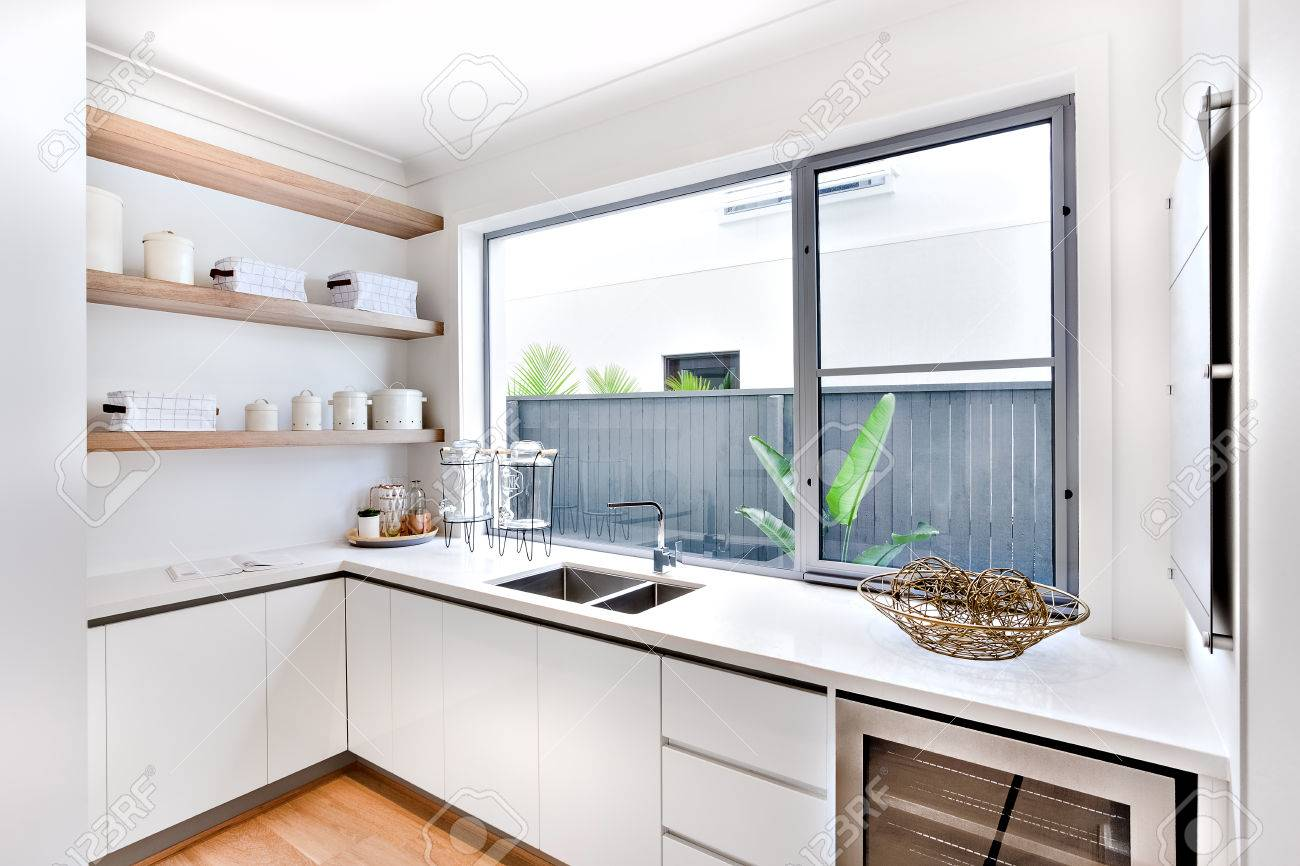Modern Kitchen Utensil Store With A Window And Counter, There ...
