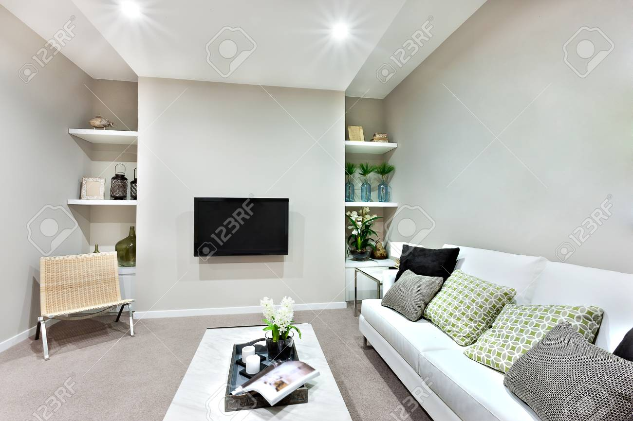 Close View Of The Modern Living Room With White Pillows On The ...