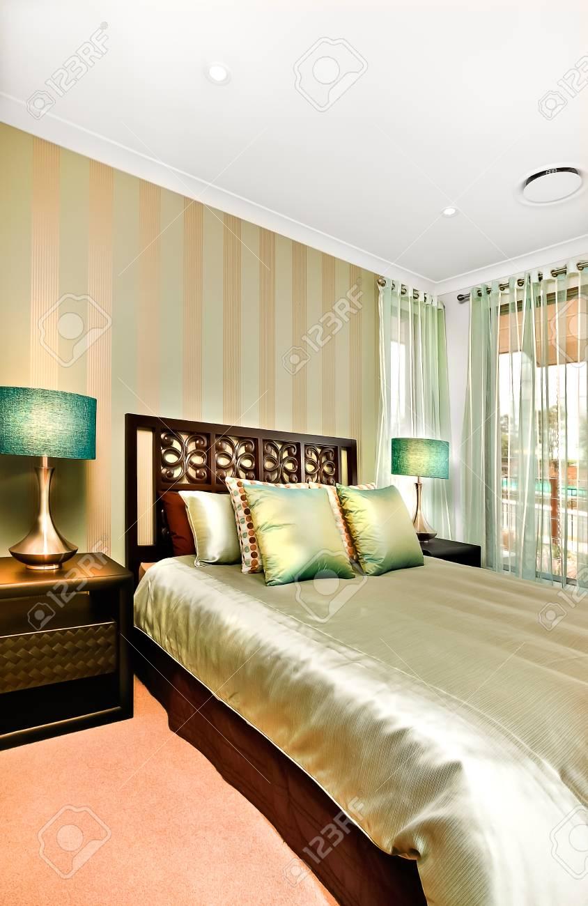 Questa Camera Da Letto Moderna Di Una Casa Di Lusso Decorato Per ...