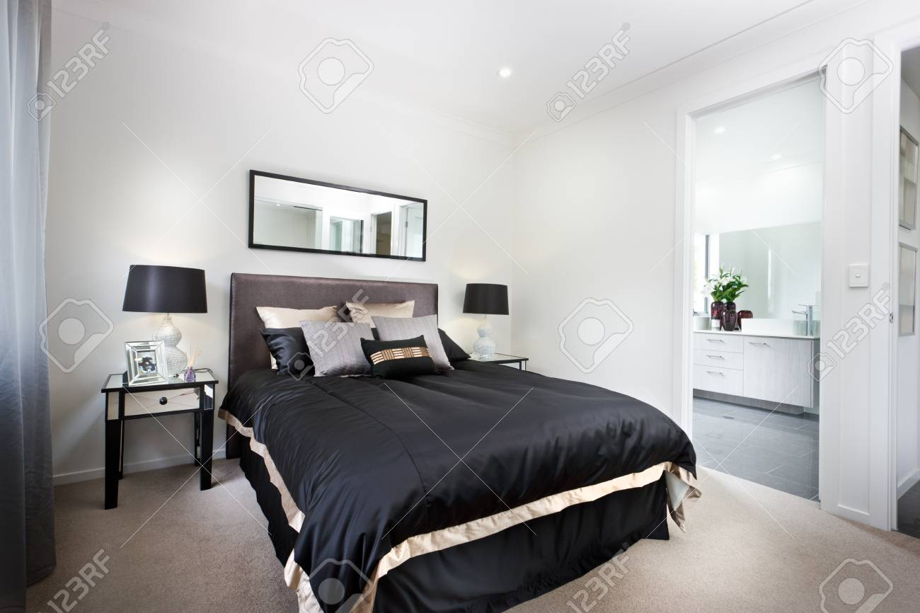 Luxury Bedroom Including Black Duvets And Washroom Entrance Stock Photo Picture And Royalty Free Image Image 63767637