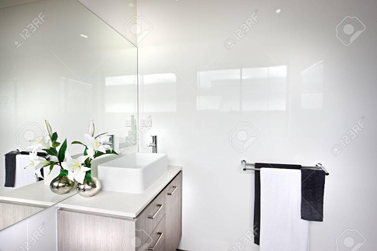Moderne Badezimmer Mit Einer Weiss Bluhenden Pflanze Mit Grunen