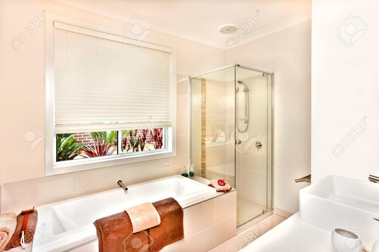 Luxury Washroom Prepared With Towels And Soap In The White Color ...