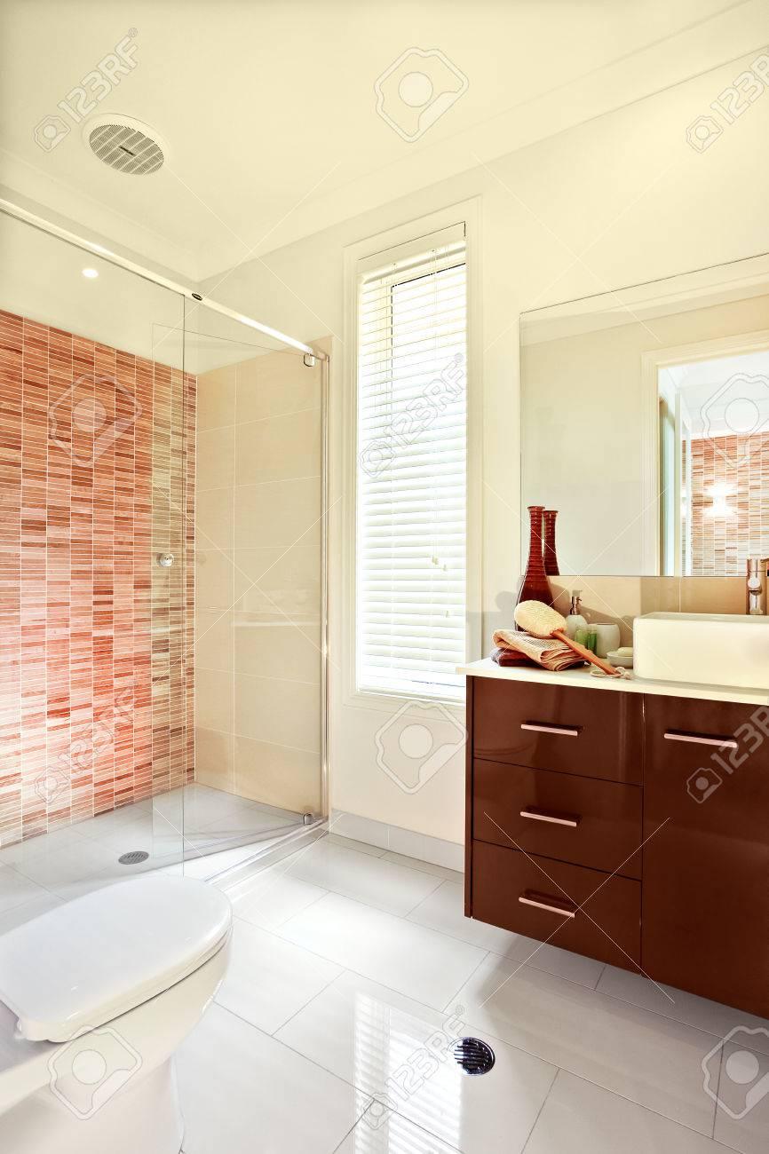 Luxury Bathroom Has White Floor Tiles, Exposed To The Sunlight ...