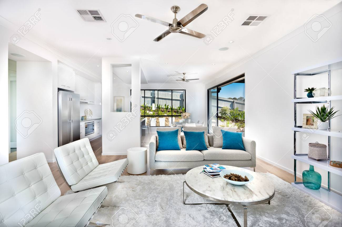 Total White Living Room Decoration, Interior With The Kitchen ...