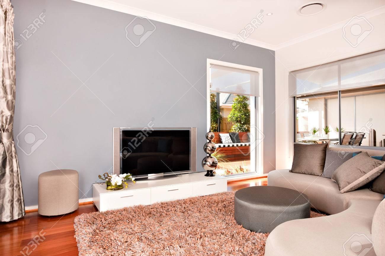 Luxus-Wohnzimmer Innen Dekoration Mit Wollteppich Auf Dem Holzboden ...