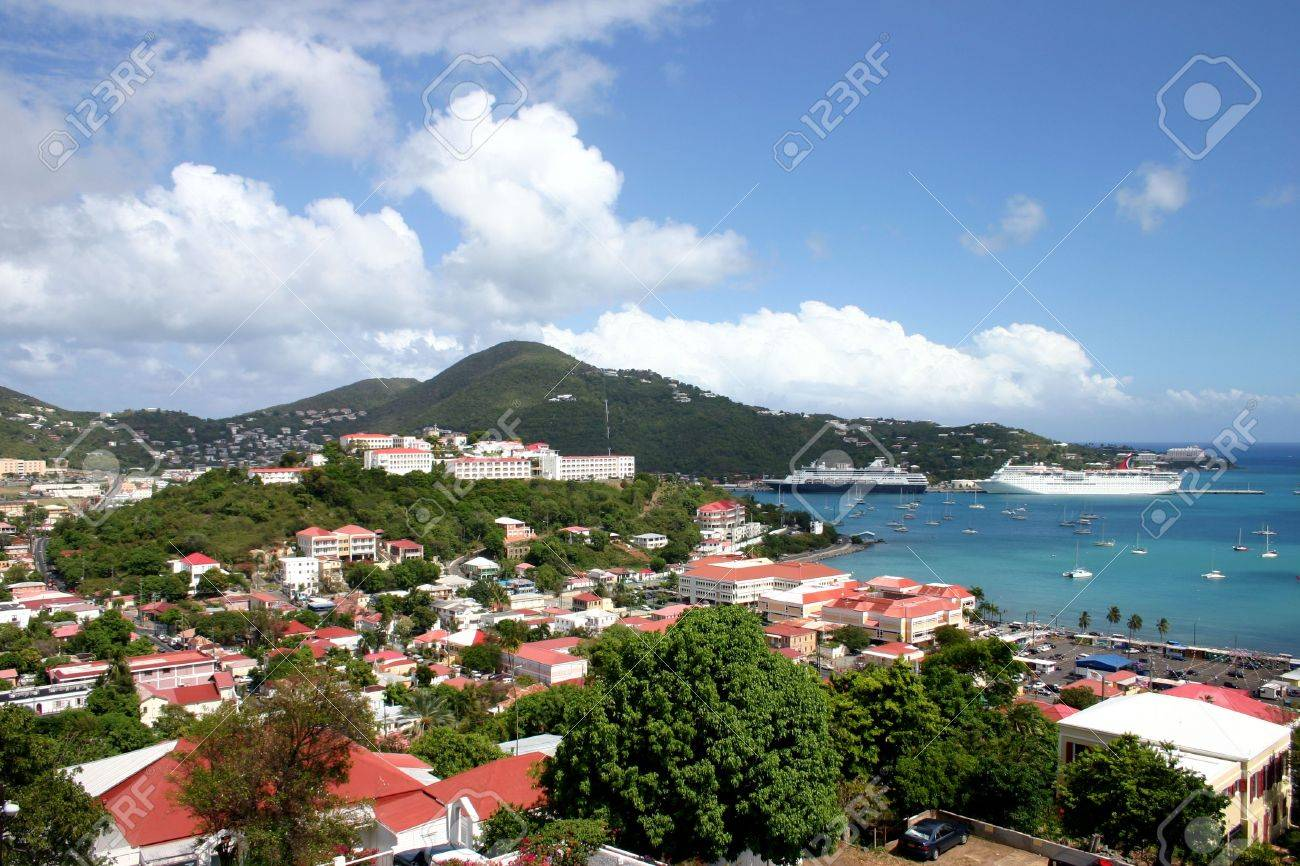 Cruise ships are docked at the port in St Thomas in the Caribbean on a beautiful sunny day. Stock Photo - 2492152