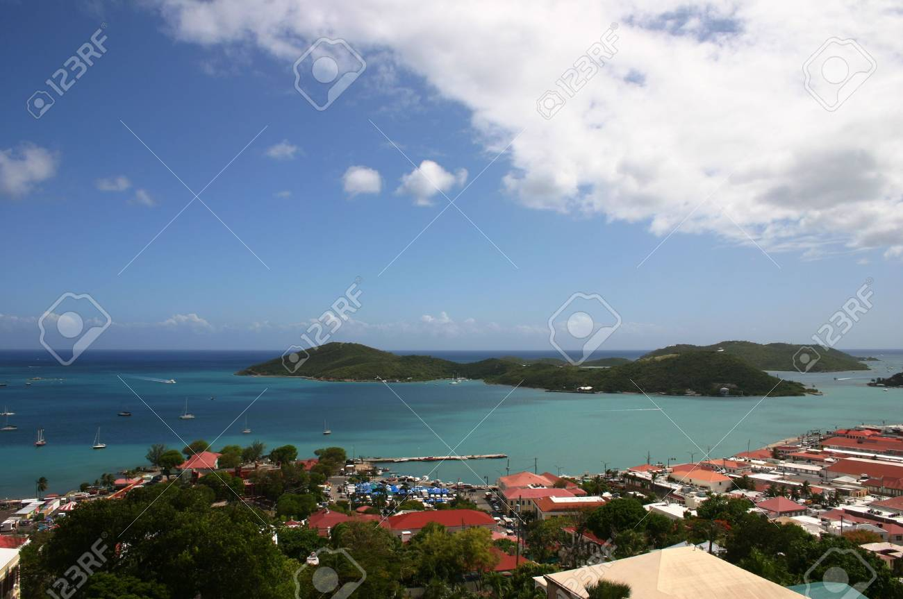 Cruise ships are docked at the port in St Thomas in the Caribbean on a beautiful sunny day. Stock Photo - 2510999