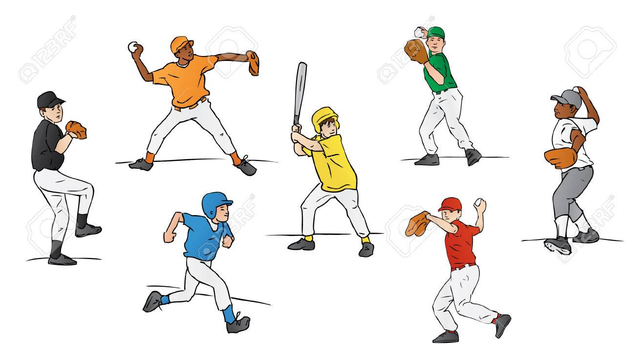 Little League Baseball Players Stock Vector - 7604223