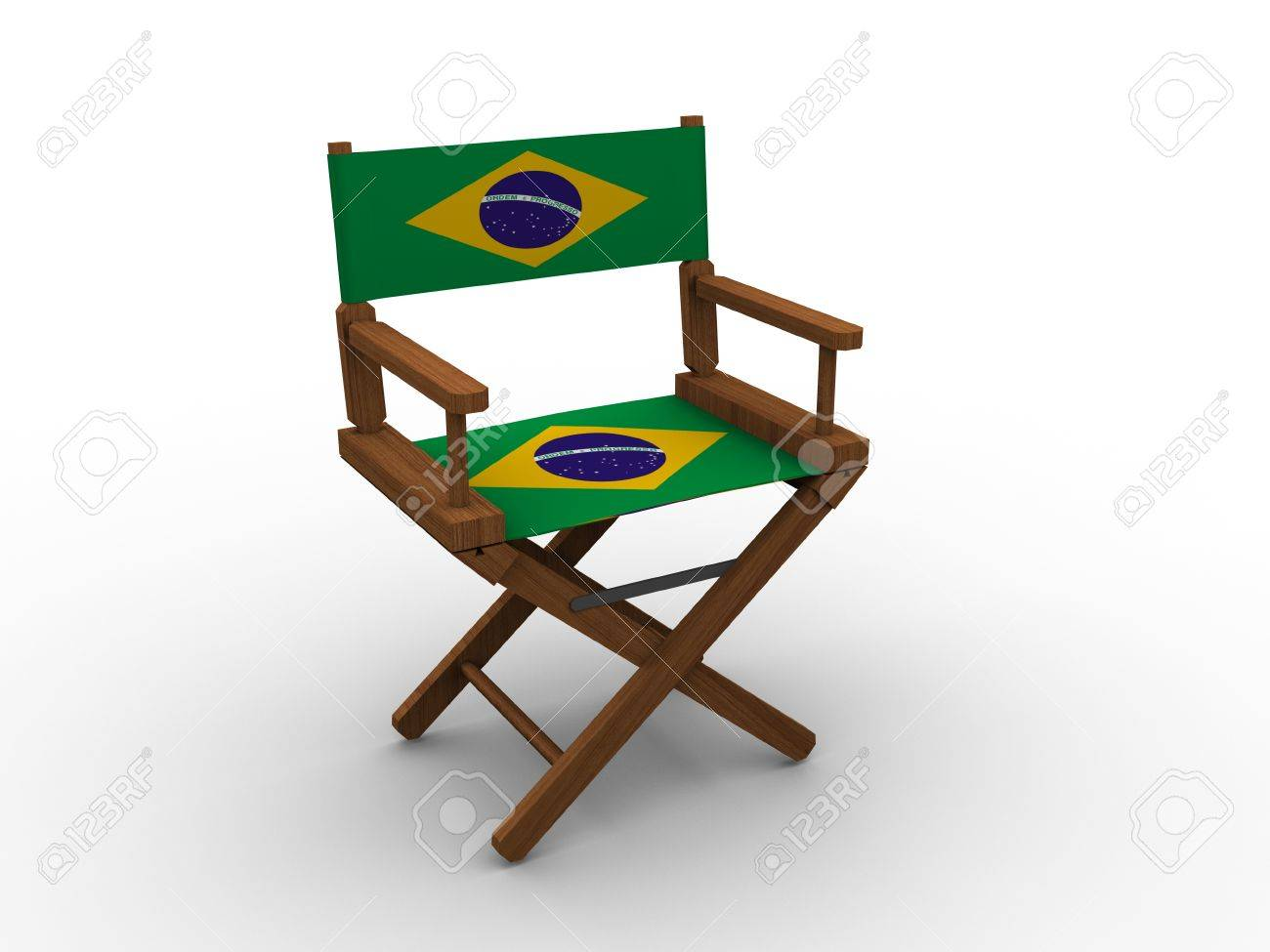 Stock Photo   Wooden Chair With Brazil Flag