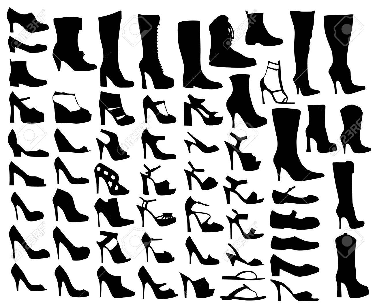 Set Of Ladies Shoes Shapes Royalty Free