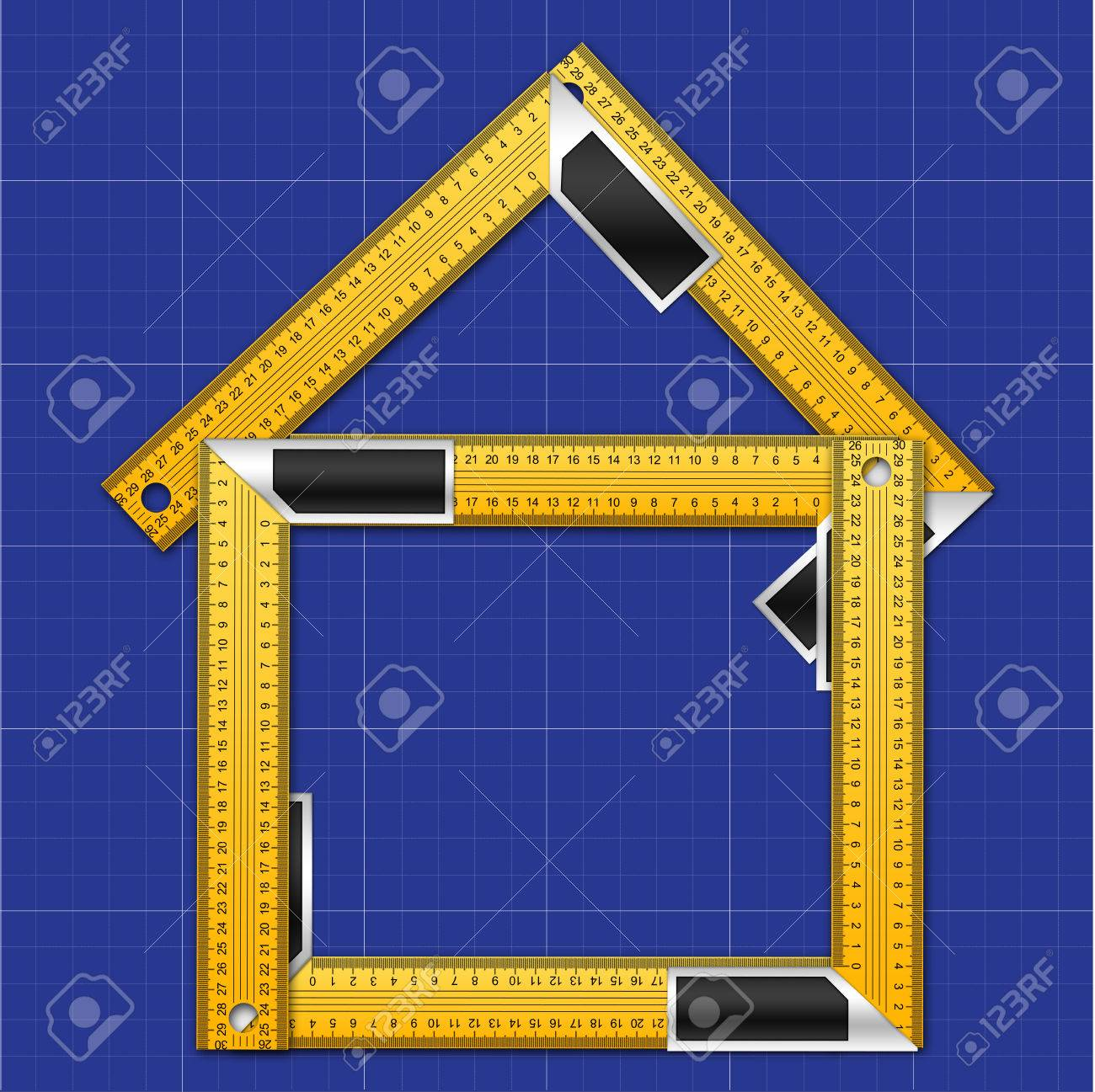House made of iron rulers with angle bar on blueprint background house made of iron rulers with angle bar on blueprint background stock photo 34218255 malvernweather Choice Image