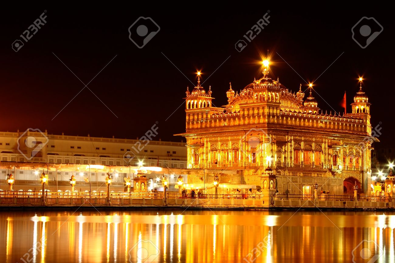 the golden temple in amritsar, punjab, india in night. a sacred
