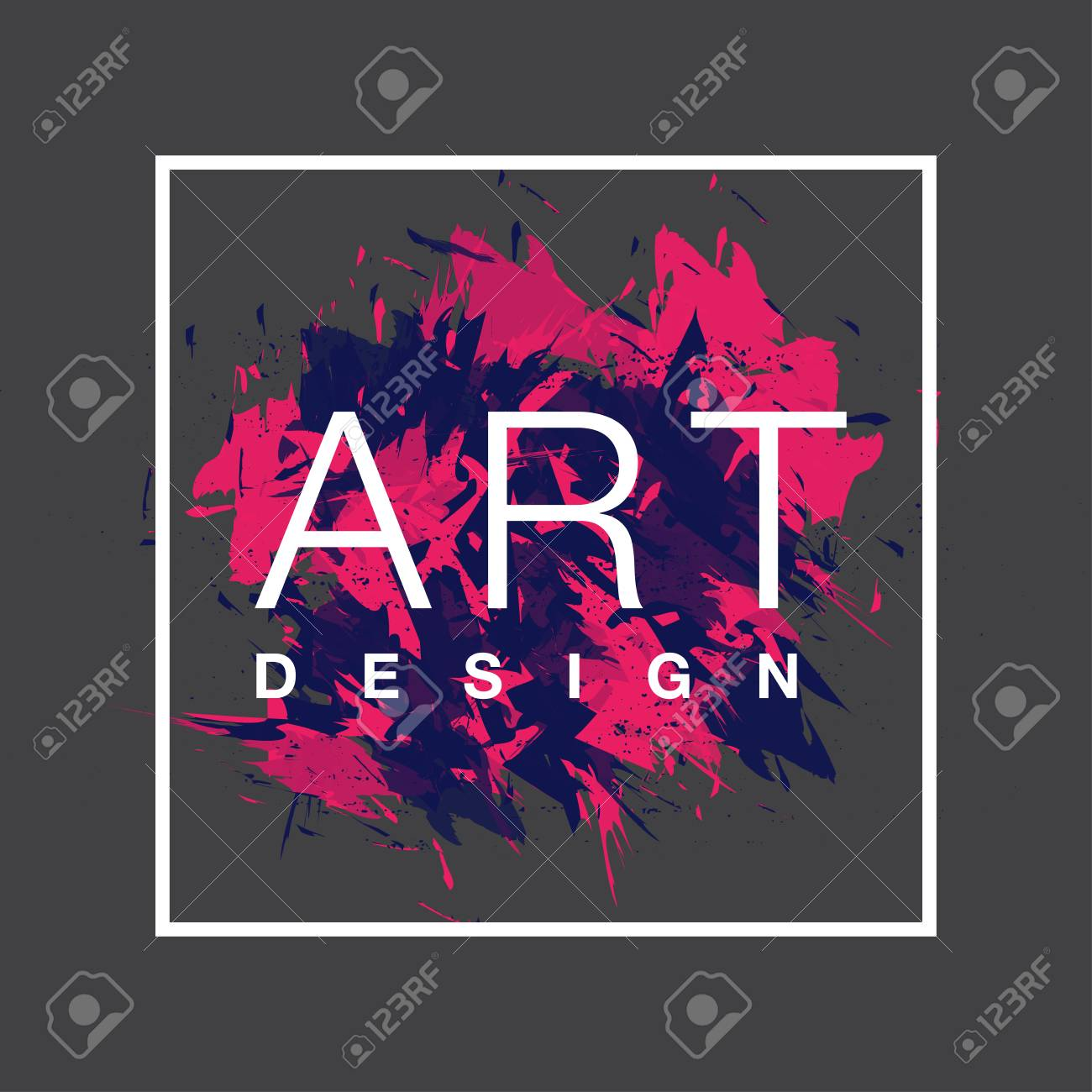Vector Square Frame With Paint Brush Background And Text Art Royalty Free Cliparts Vectors And Stock Illustration Image 81713096